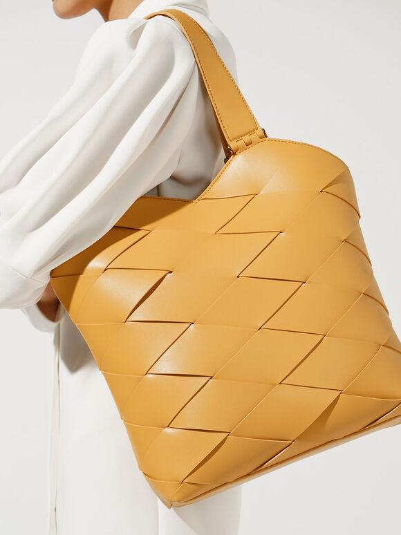 Woven Tote Bag, Mustard, hi-res