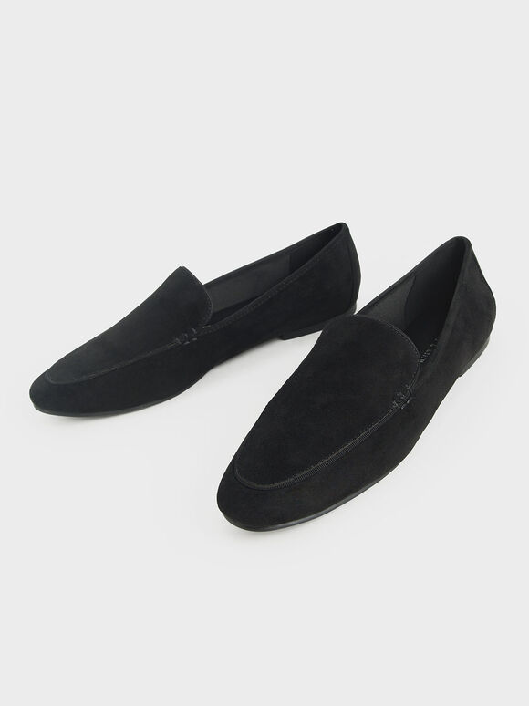 Textured Loafer Flats, Black, hi-res