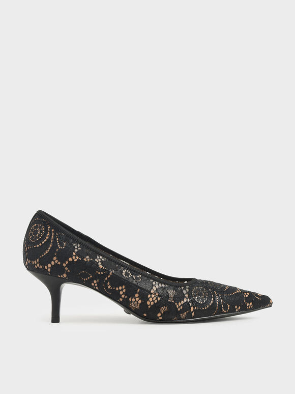 Lace Pointed Pumps, Black, hi-res