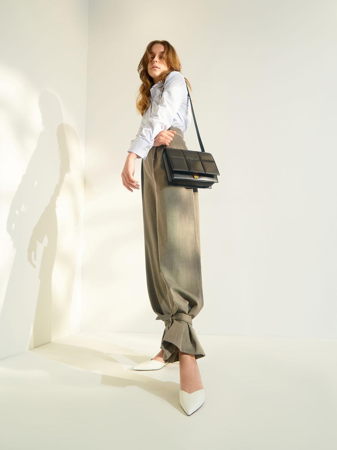 Textured Panelled Shoulder Bag, Black, hi-res
