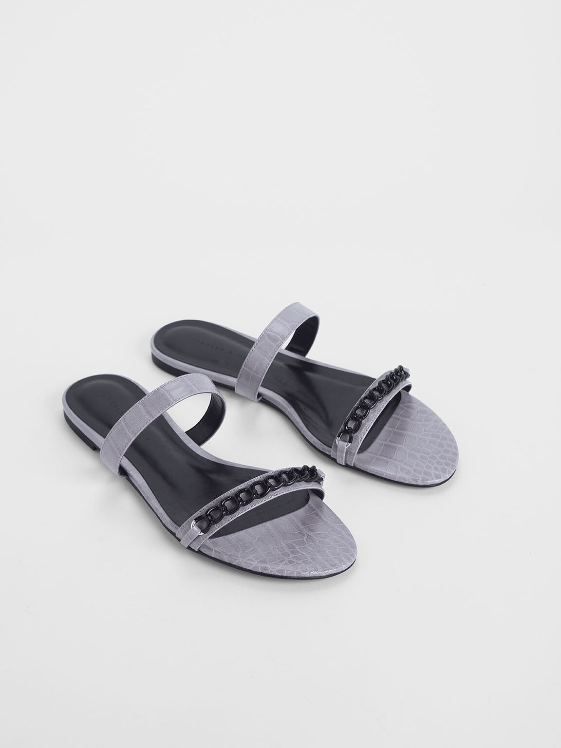 Croc-Effect Chain Detail Double Strap Slide Sandals, Lilac, hi-res