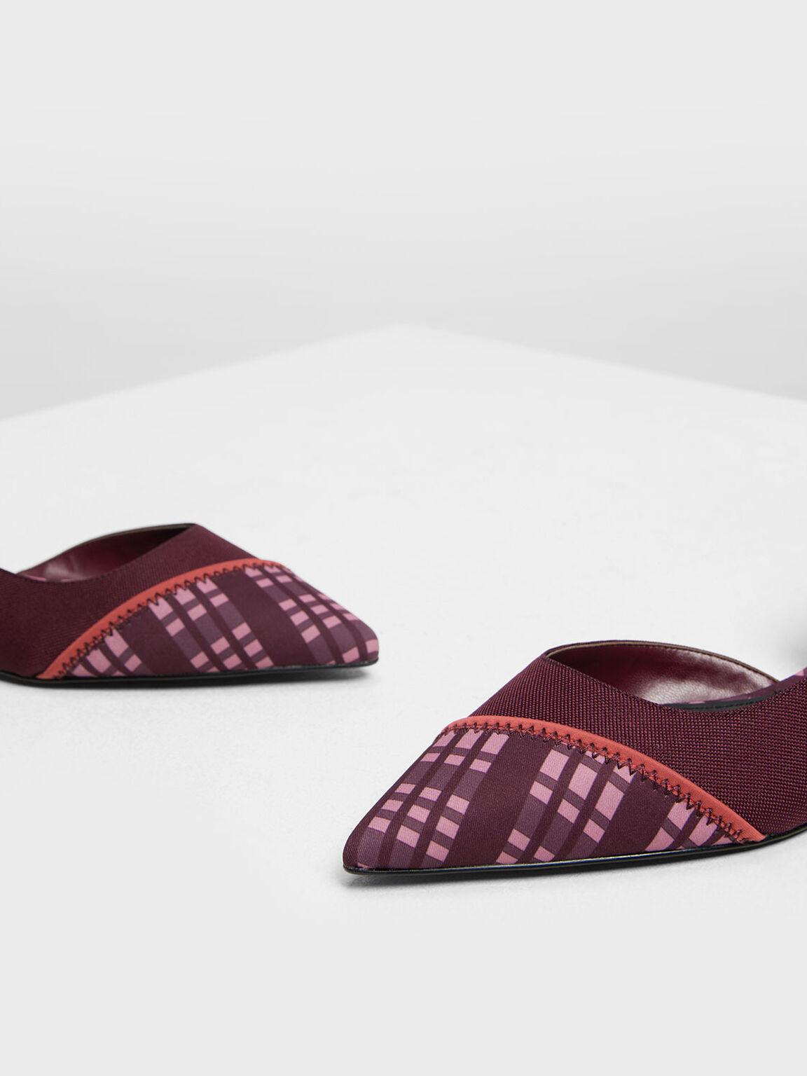Asymmetrical Check Print Ballerinas, Prune, hi-res