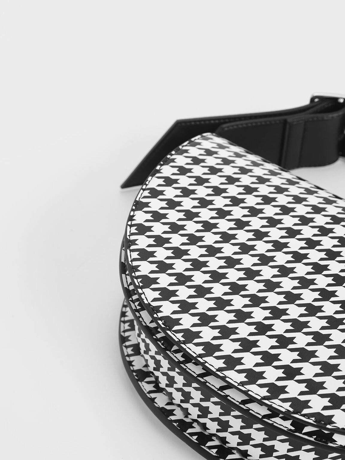 Houndstooth Print Saddle Bag, Multi, hi-res