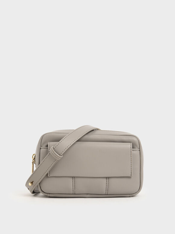 Quilted Rectangular Belt Bag, Sand, hi-res