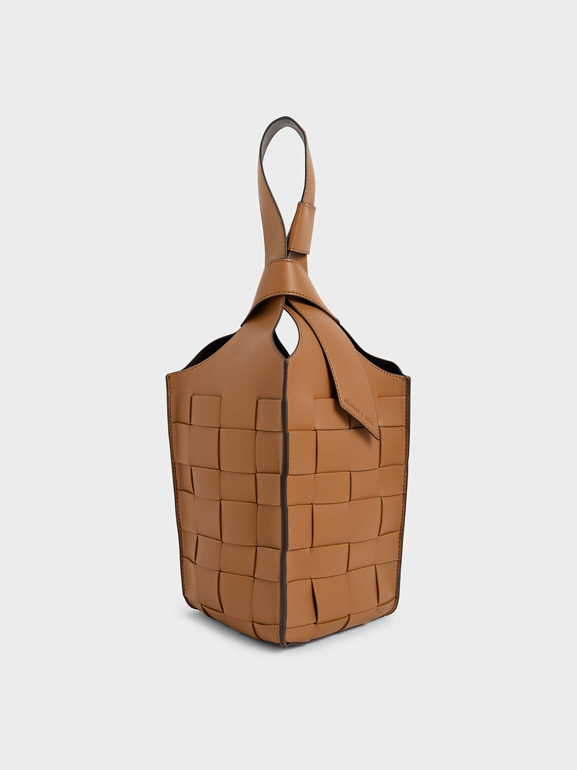 Woven Single Handle Bucket Bag, Camel, hi-res