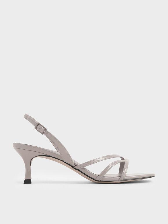 Asymmetric Strappy Patent Heels, Nude, hi-res
