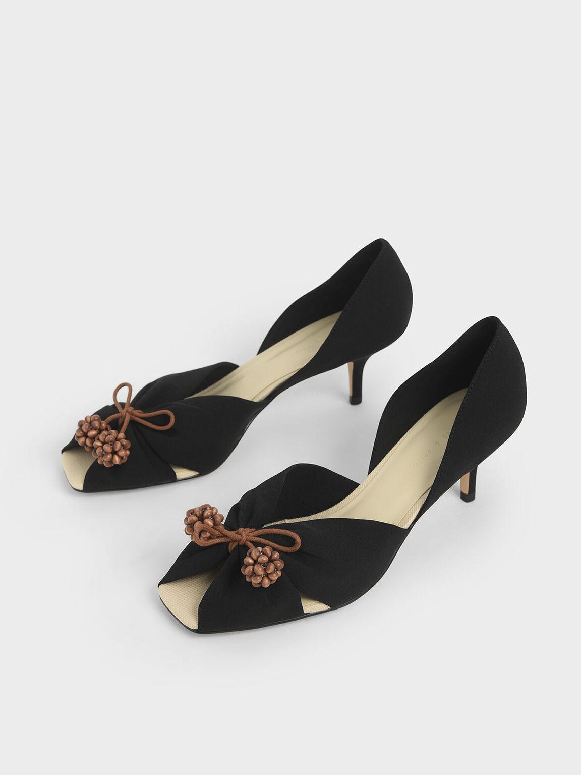 Cherry Embellished Peep-Toe D'Orsay Pumps, Black, hi-res