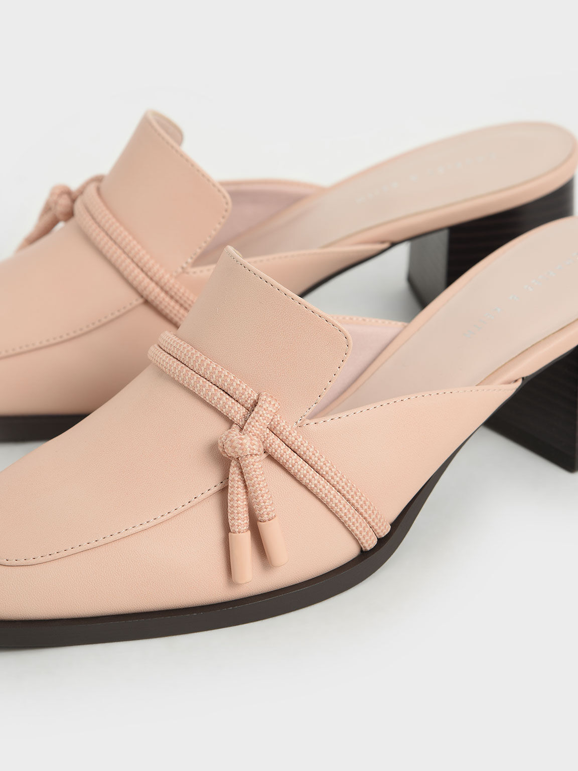 Knot Detail Mules, Nude, hi-res