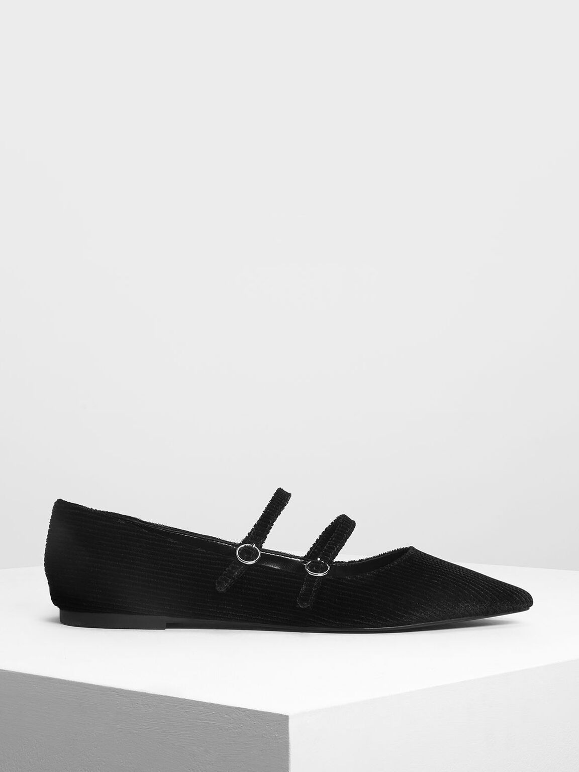 Double Mary Jane Strap Flats, Black, hi-res