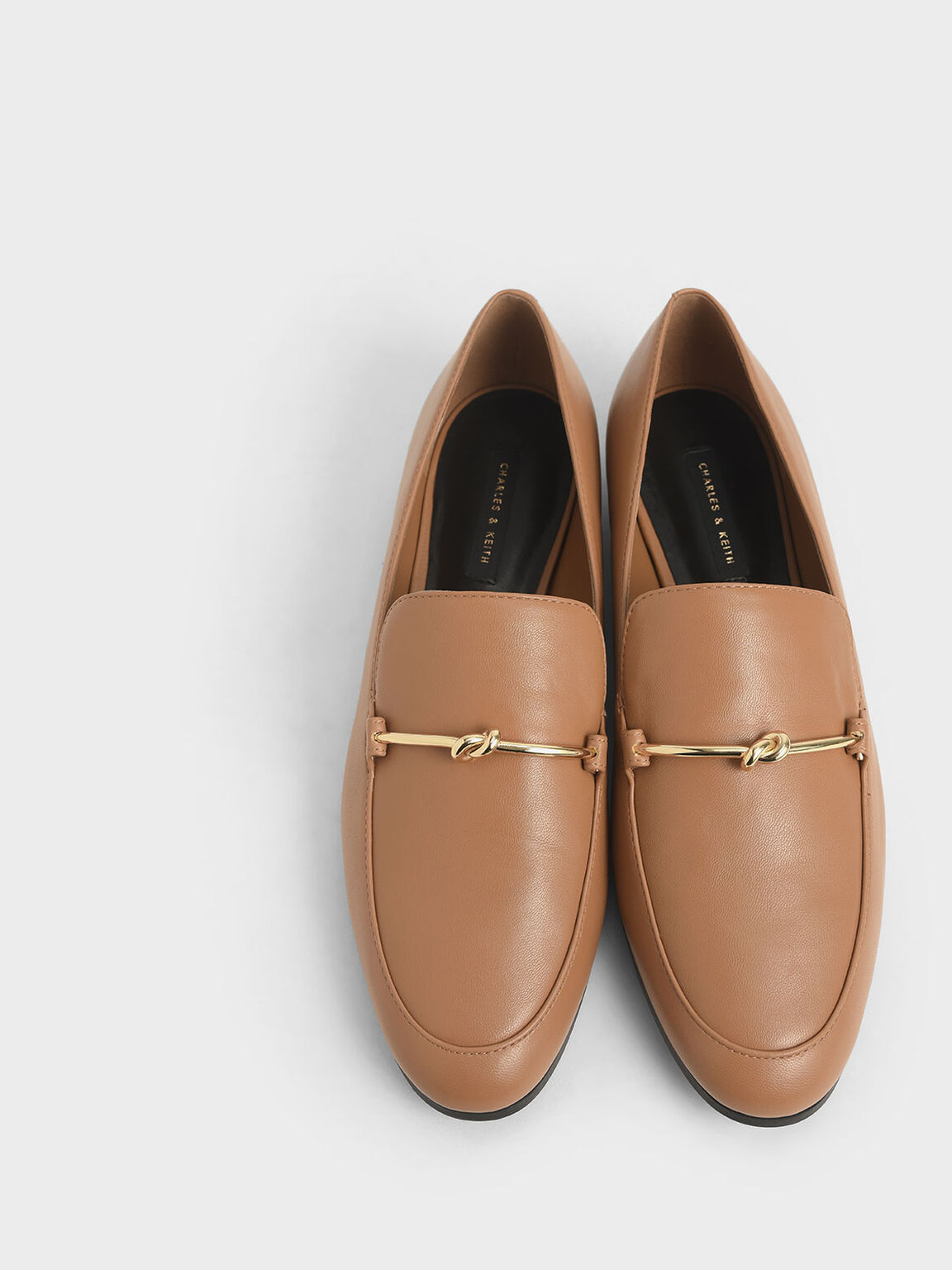 Metallic Knot Accent Loafers, Brown, hi-res