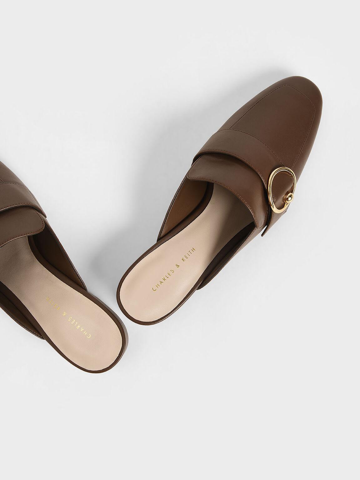 Ring Embellished Loafer Mules, Brown, hi-res