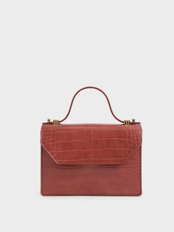 Croc-Effect Mini Top Handle Clutch, Clay, hi-res