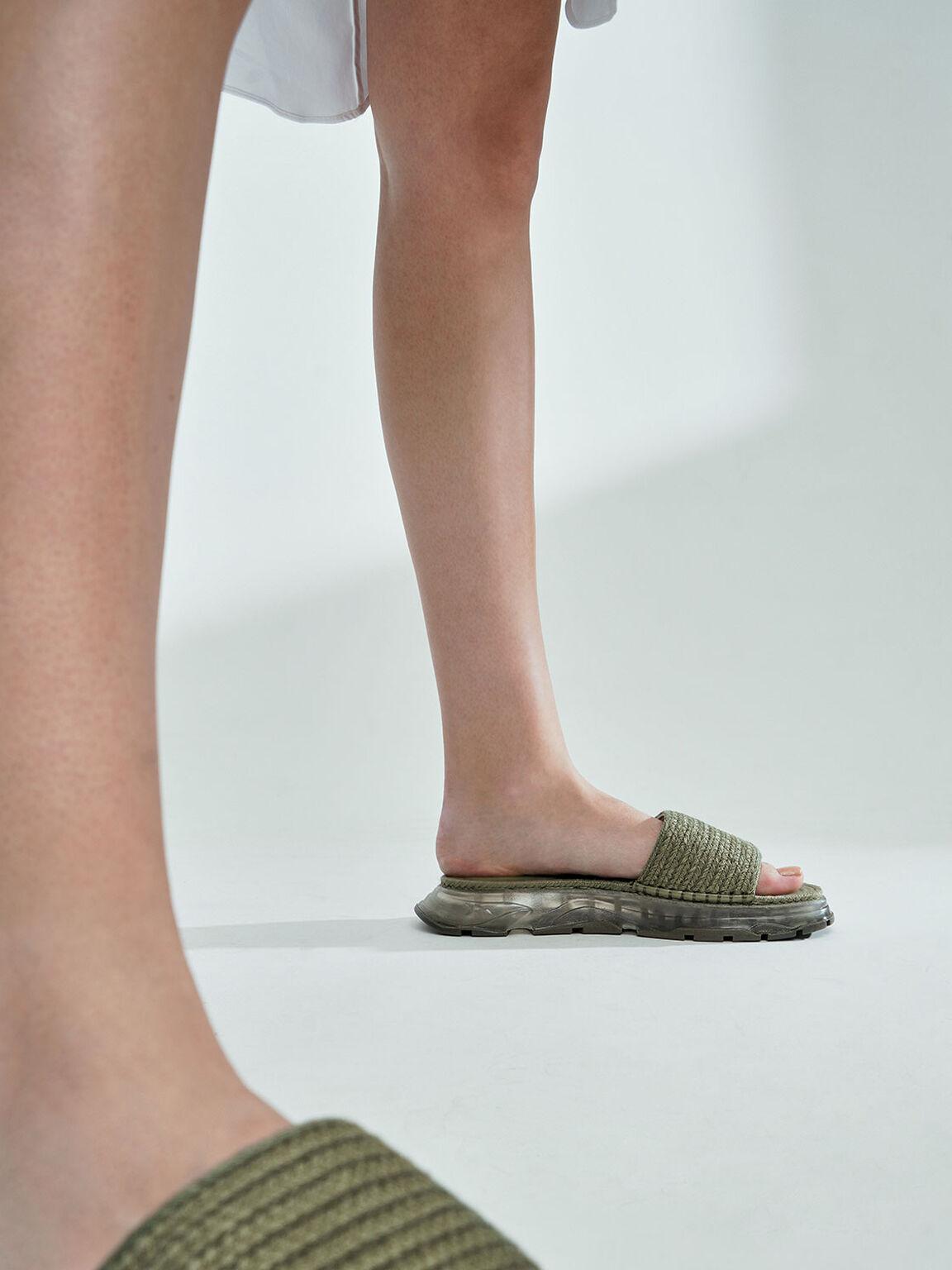 Espadrille Flatform Sandals, Olive, hi-res