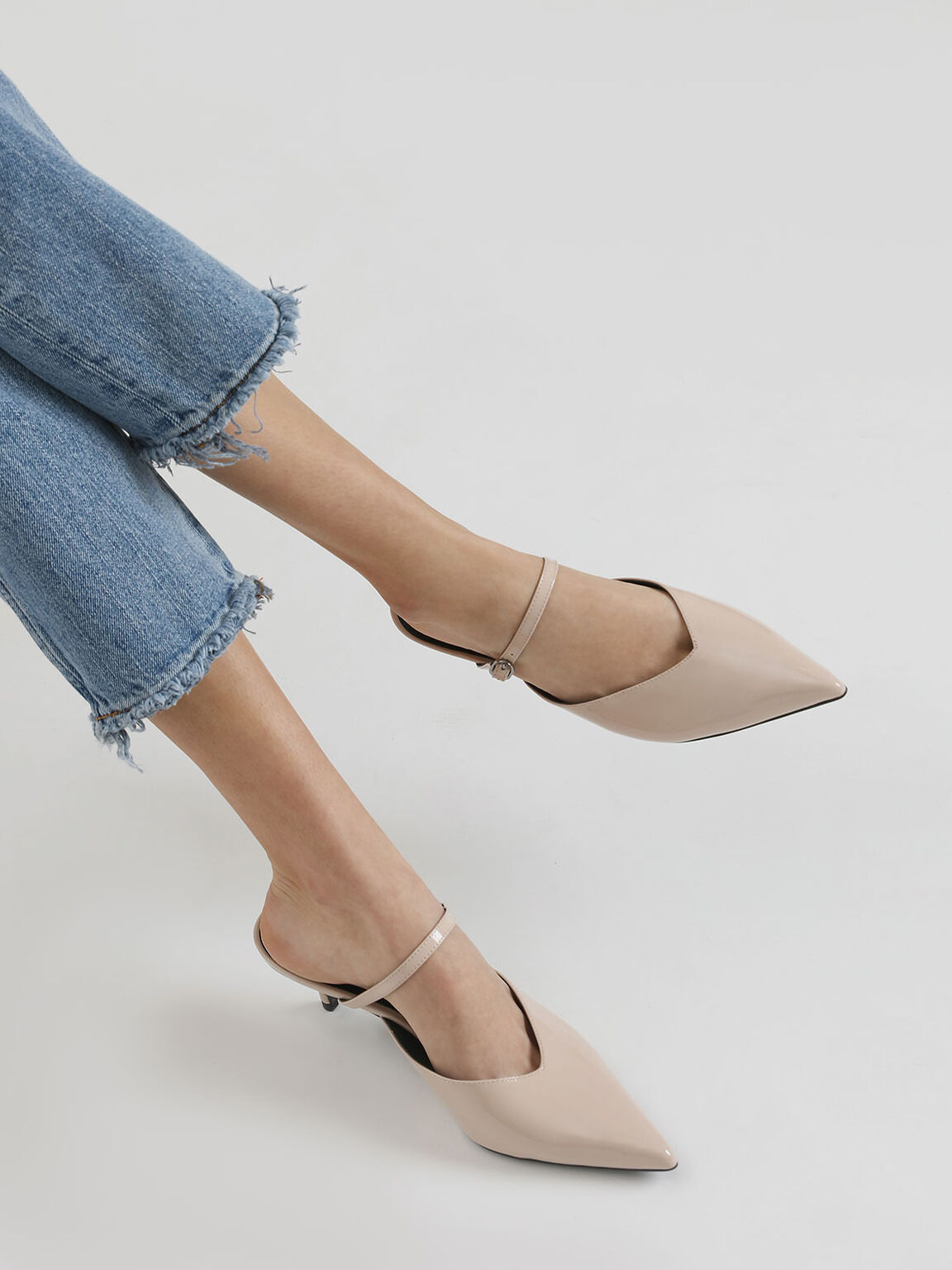 Patent Leather Mary Jane Kitten Heel Mules, Nude, hi-res