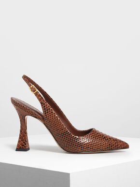 Snake Print Sculptural Heel Slingback Pumps, Dark Brown, hi-res