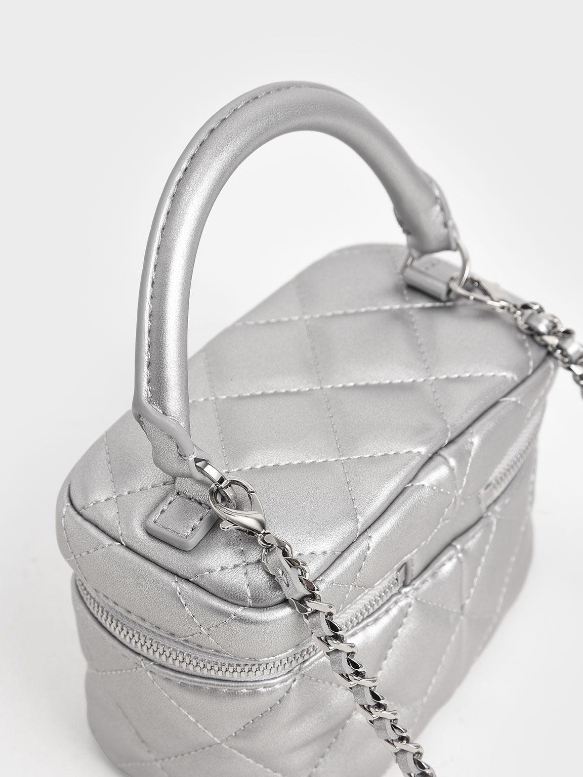 Girls' Two-Way Zip Metallic Quilted Bag, Silver, hi-res