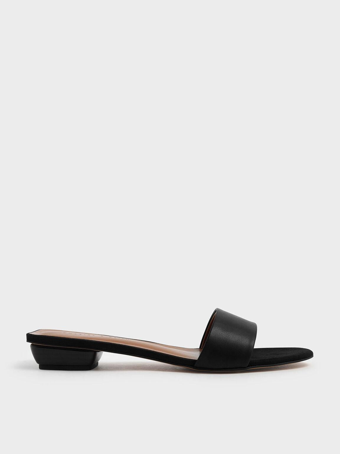 Stacked Heel Slide Sandals, Black, hi-res