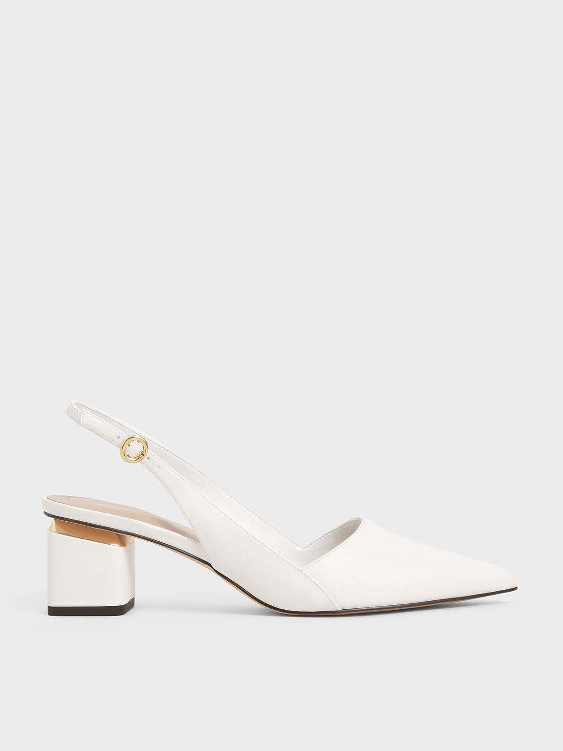 Pointed Slingback Heels, White, hi-res