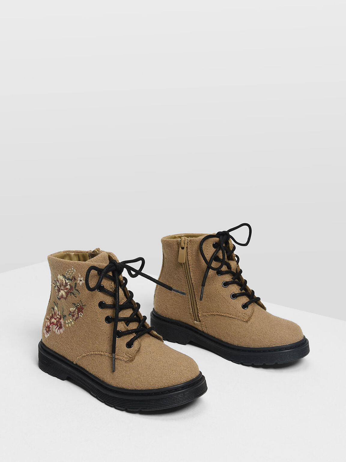 Kids Floral Embroidery Boots, Beige, hi-res