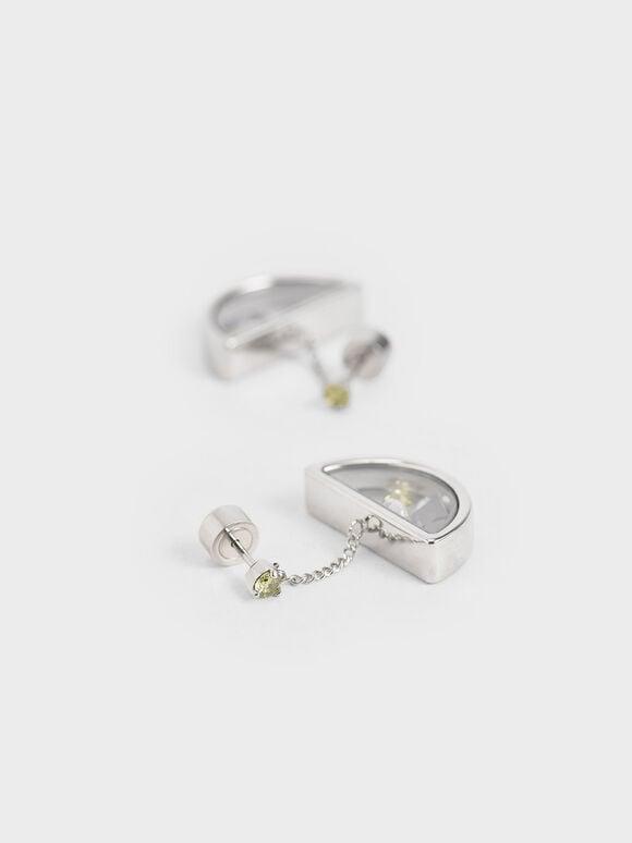 漂浮水晶耳環, 銀色, hi-res