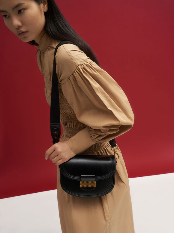 Embellished Saddle Bag, Black, hi-res