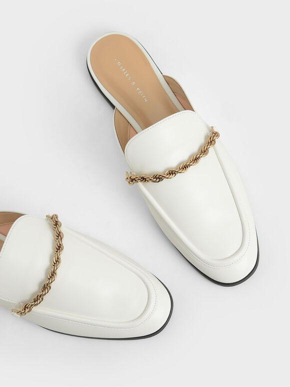 麻花鏈穆勒鞋, 白色, hi-res