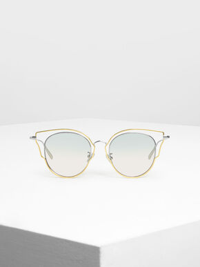 Double Frame Wingtip Sunglasses, Silver