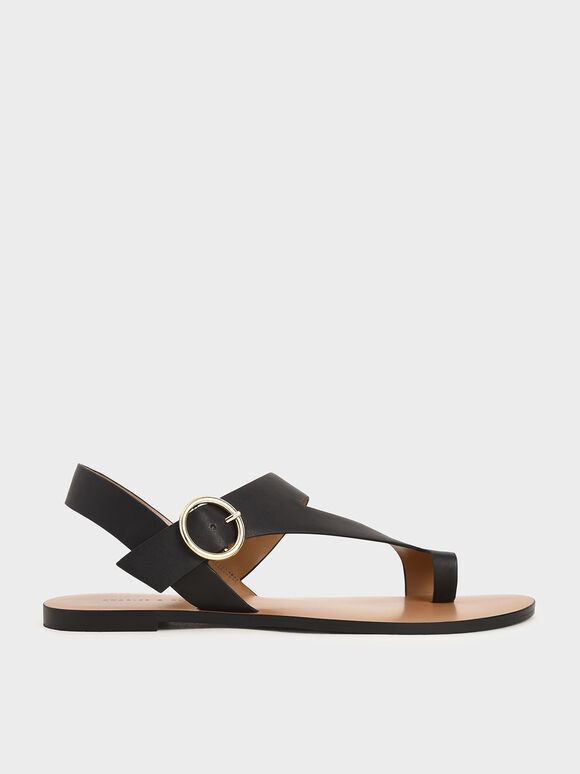 Toe Loop Asymmetric Strap Flats, Black, hi-res