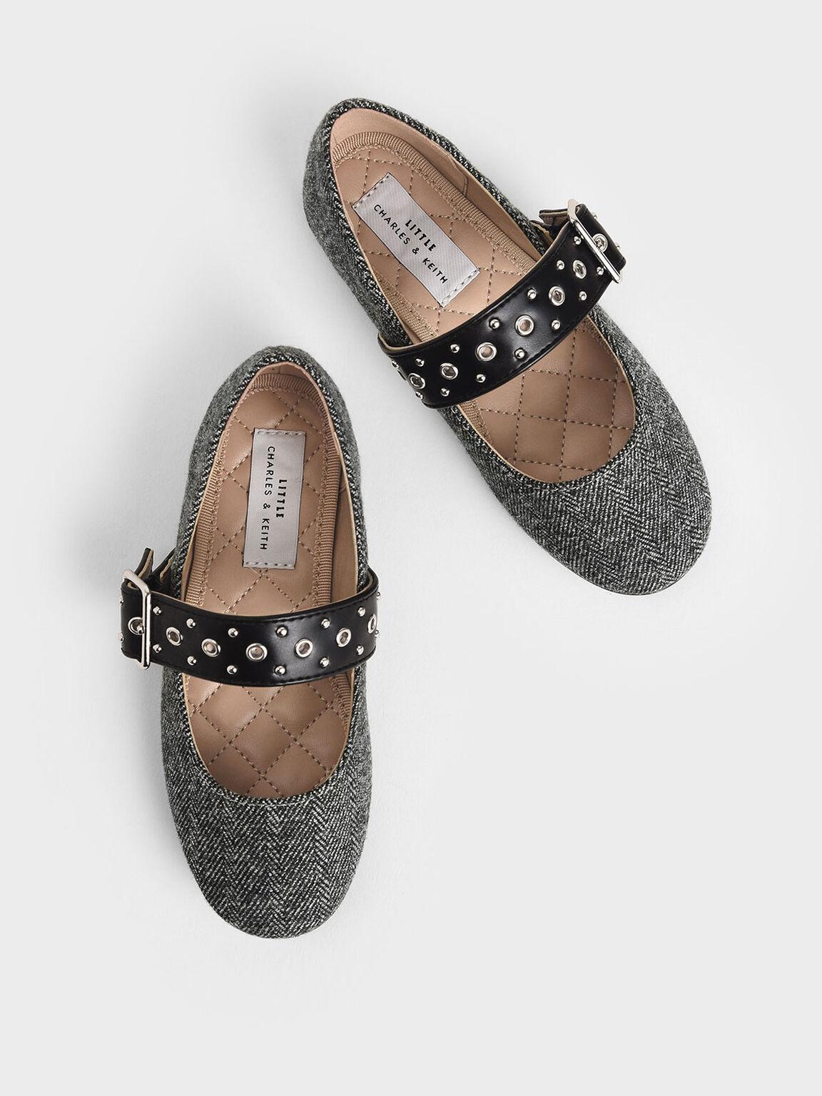 Girls' Woven Fabric Studded Mary Jane Flats, Dark Grey, hi-res