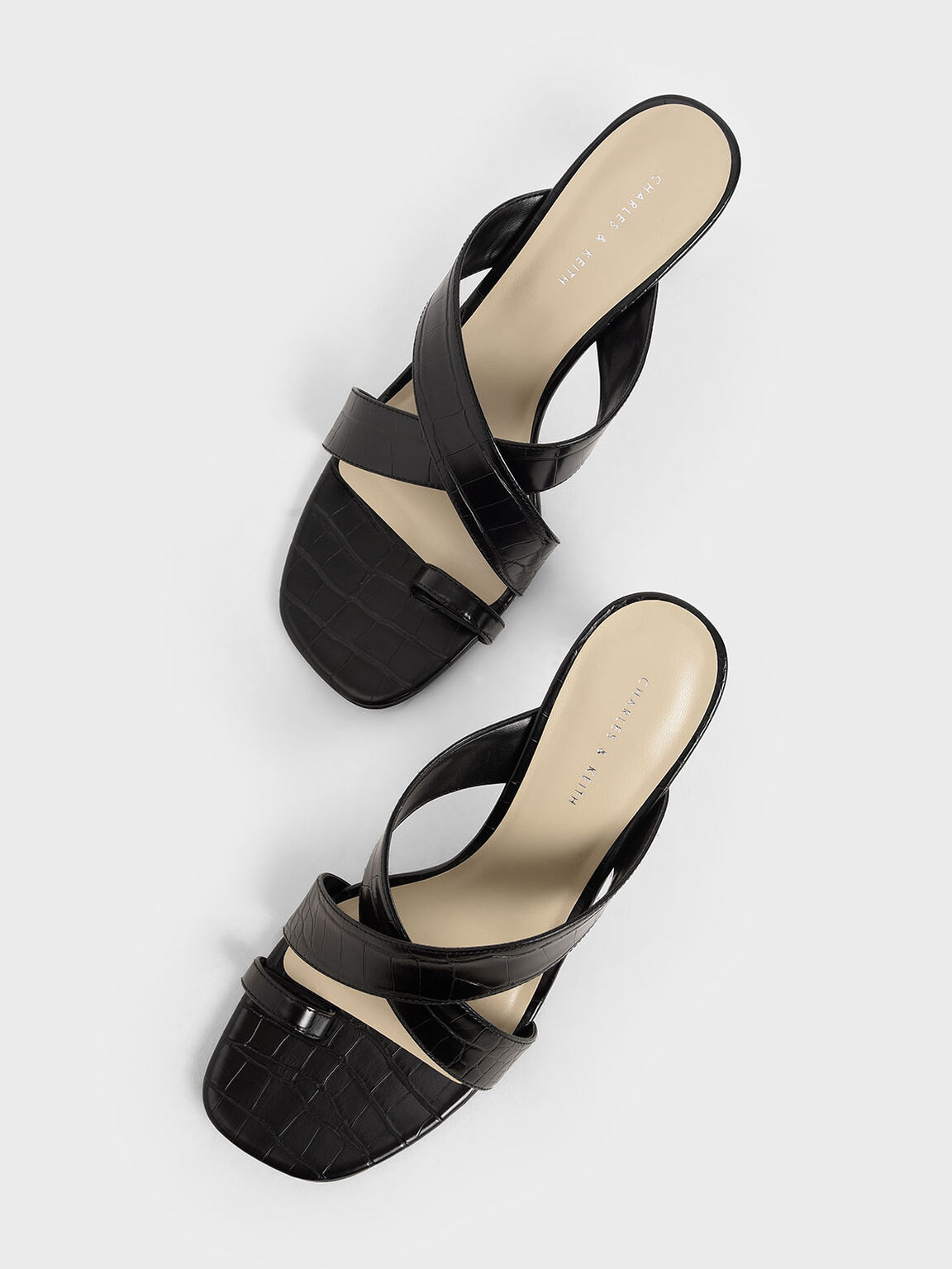 Croc-Effect Heeled Mules, Black, hi-res