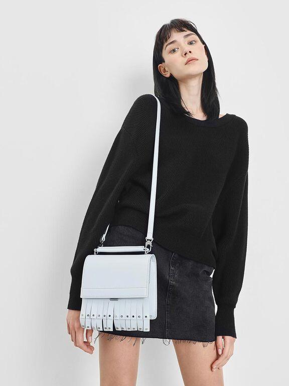 Fringe Trim Top Handle Bag, Light Blue