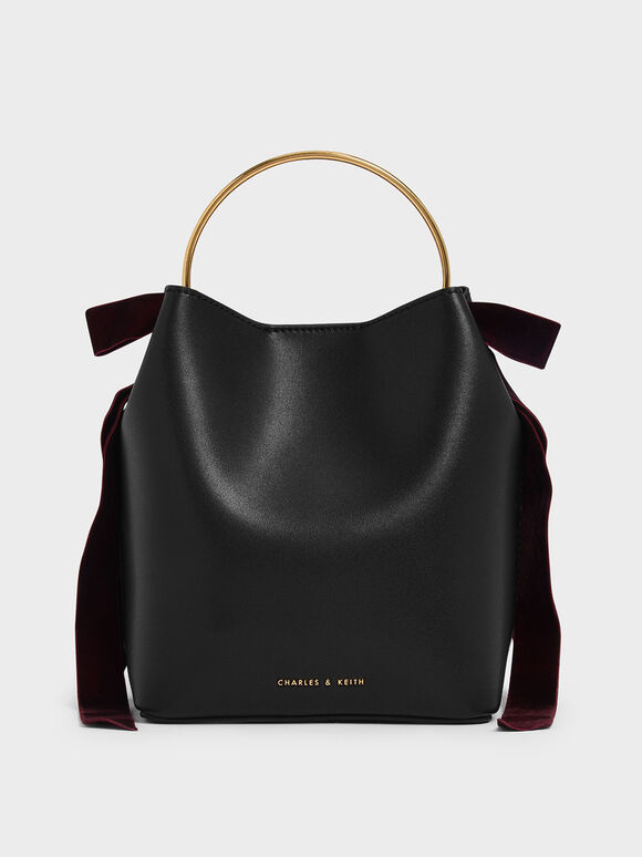 Velvet Bow Detail Bucket Bag, Black, hi-res