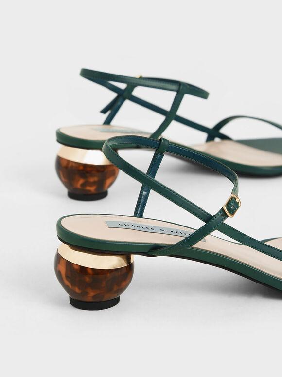 Sculptural Heel Ankle Strap Sandals, Green, hi-res