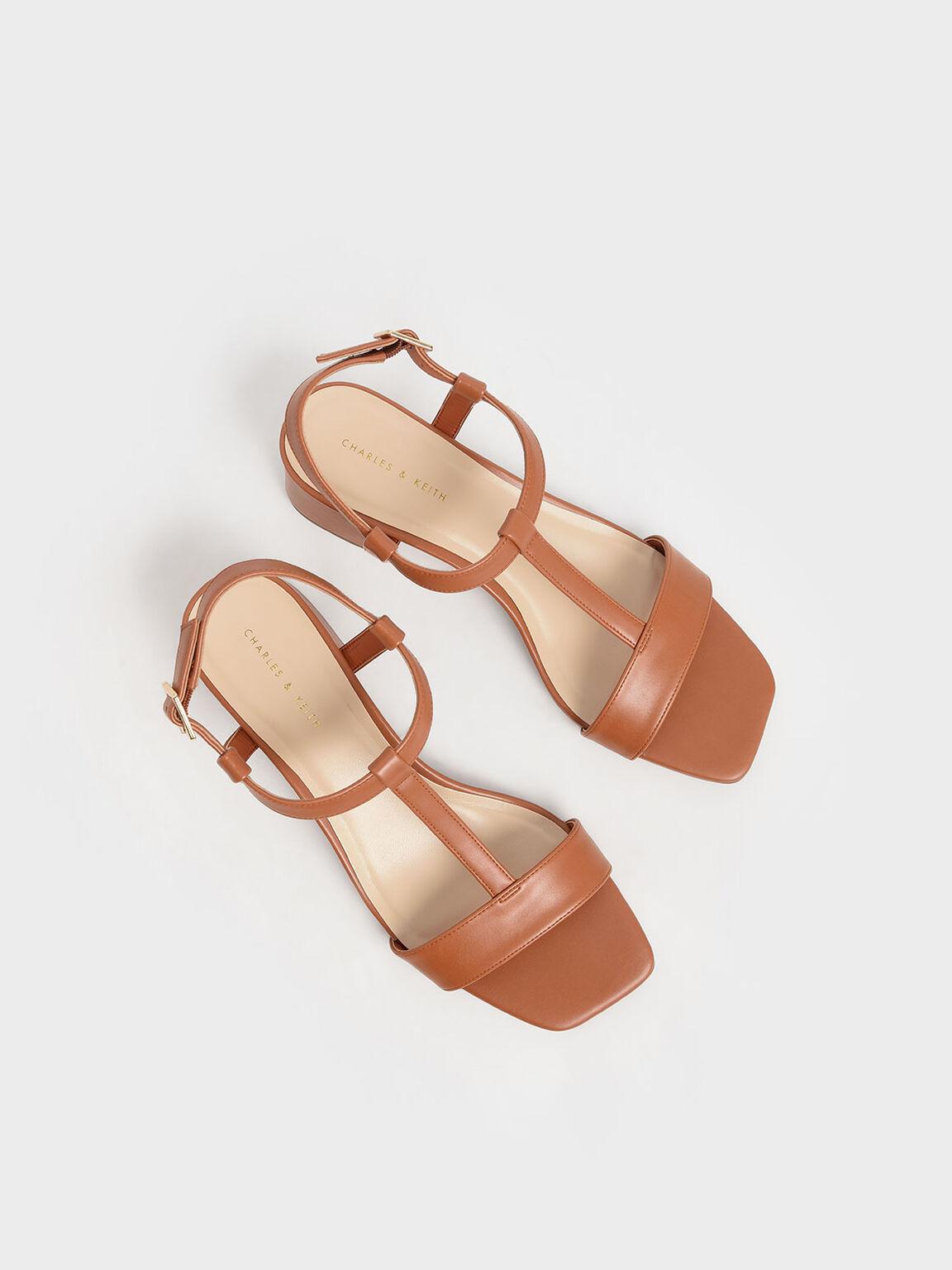 T-Bar Block Heel Sandals, Brick, hi-res