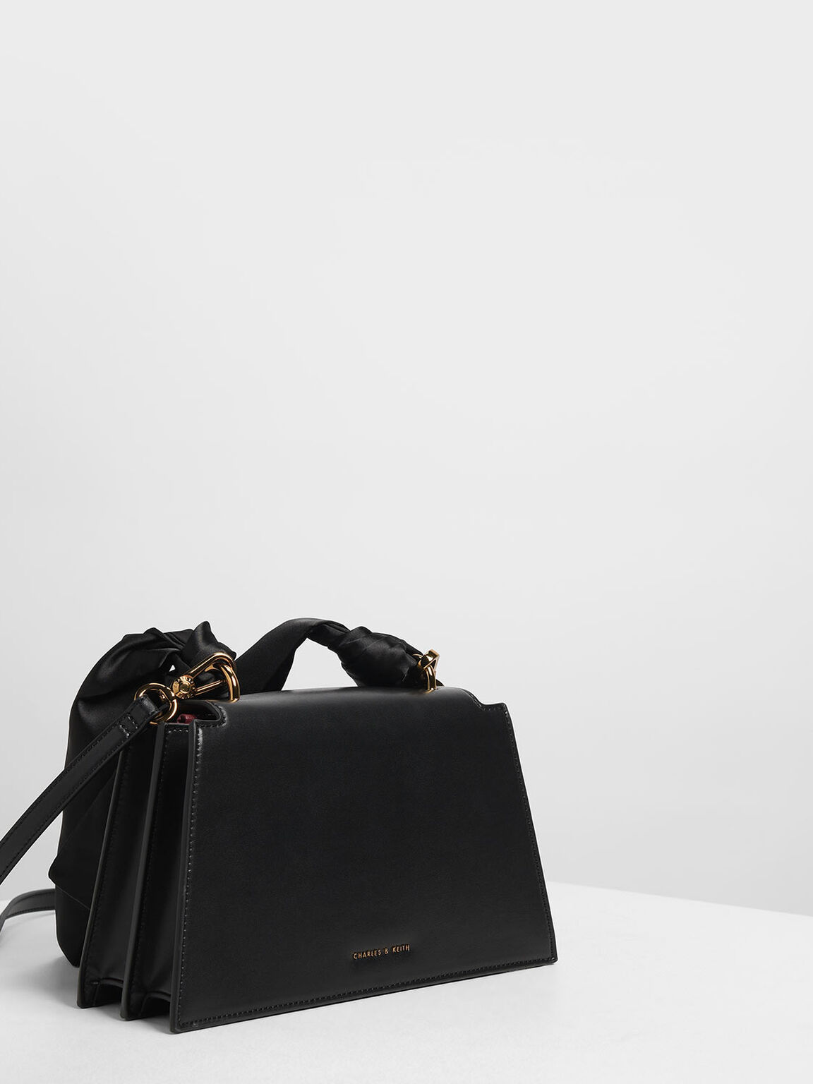 Ribbon Shoulder Bag, Black, hi-res