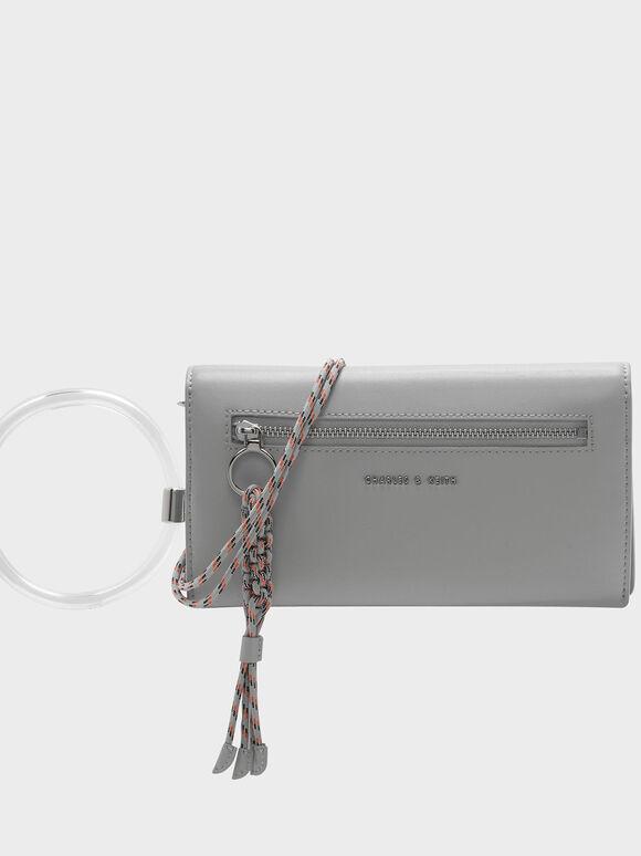 Circular Handle Long Wallet, Grey, hi-res