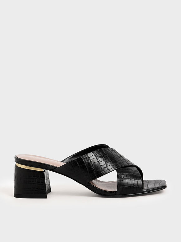 Croc-Effect Criss Cross Mules, Black, hi-res