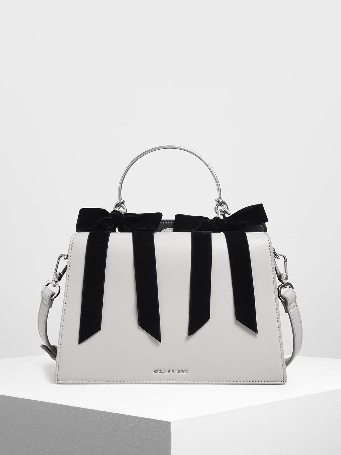 Velvet Bow Detail Top Handle Bag, Grey, hi-res