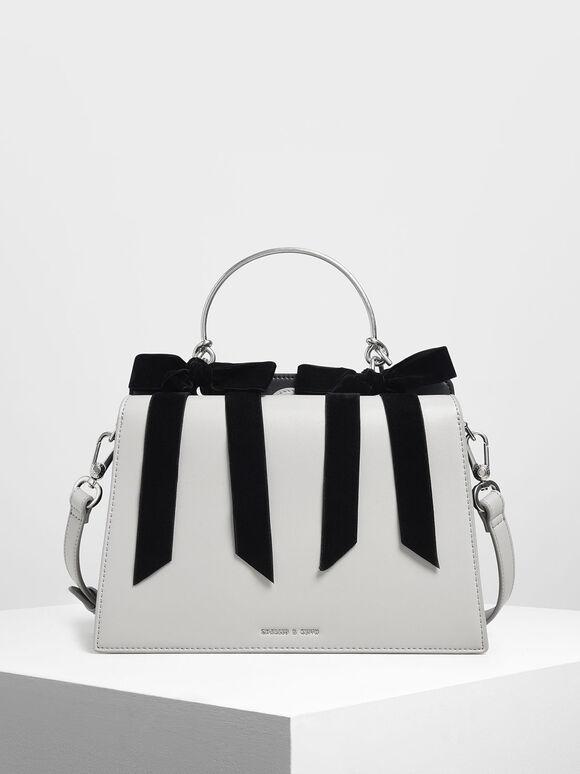 Velvet Bow Detail Top Handle Bag, Grey, hi-res