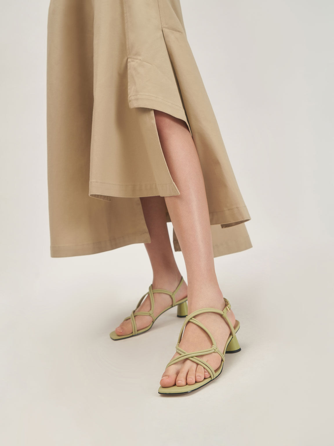 Leather Strappy Knotted Sandals, Green, hi-res