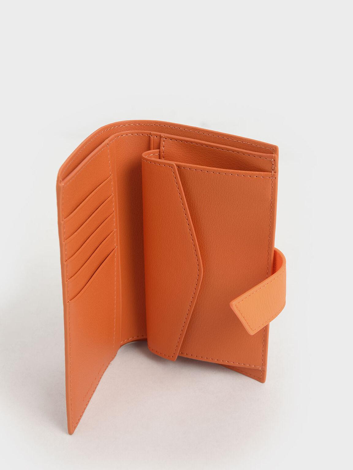 Snap Button Wallet, Orange, hi-res