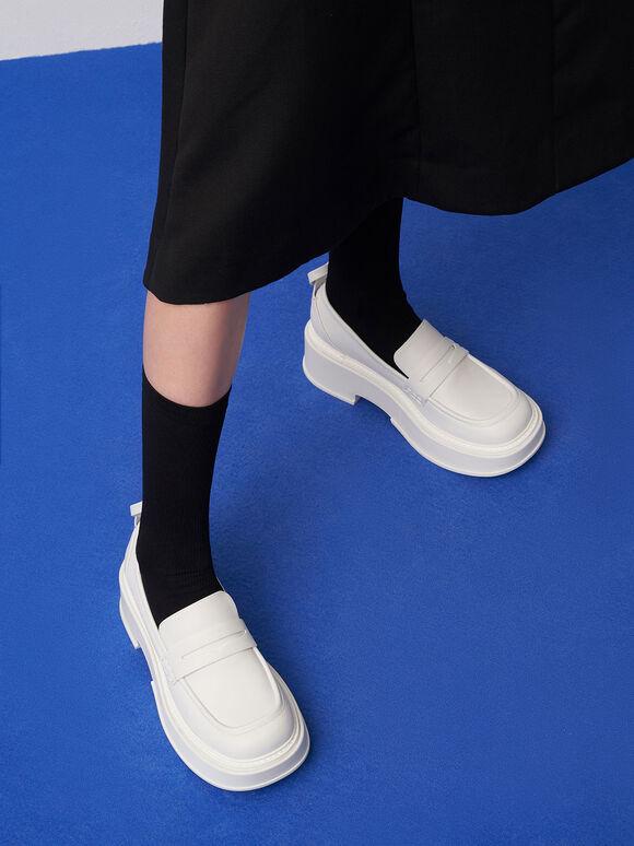 Frankie 厚底樂福鞋, 白色, hi-res