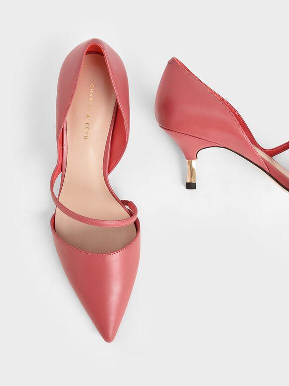 Asymmetric Strap D'Orsay Pumps, Coral Pink, hi-res