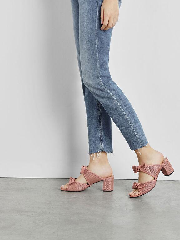 Double Bow Raffia Heeled Slide Sandals, Blush