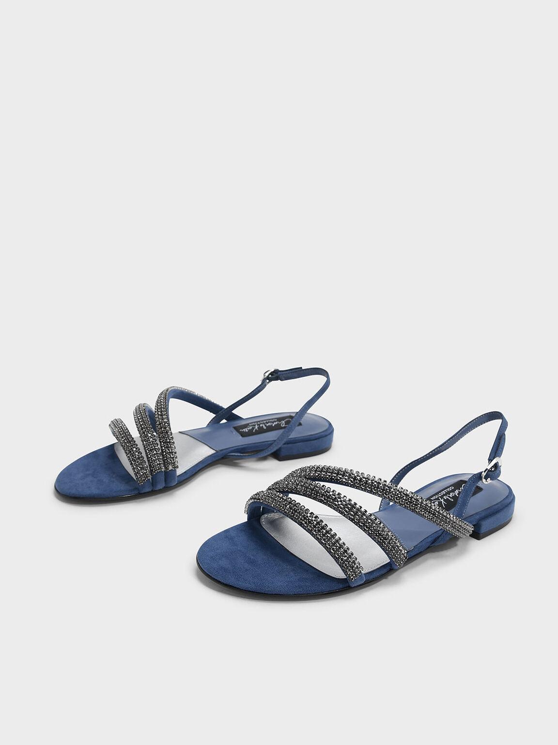 Embellished Suede Slingback Sandals, 블루, hi-res
