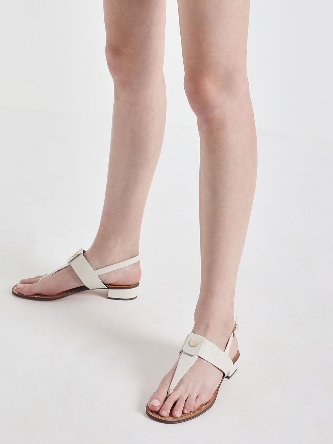 Gold Button Accent Thong Sandals, Chalk, hi-res