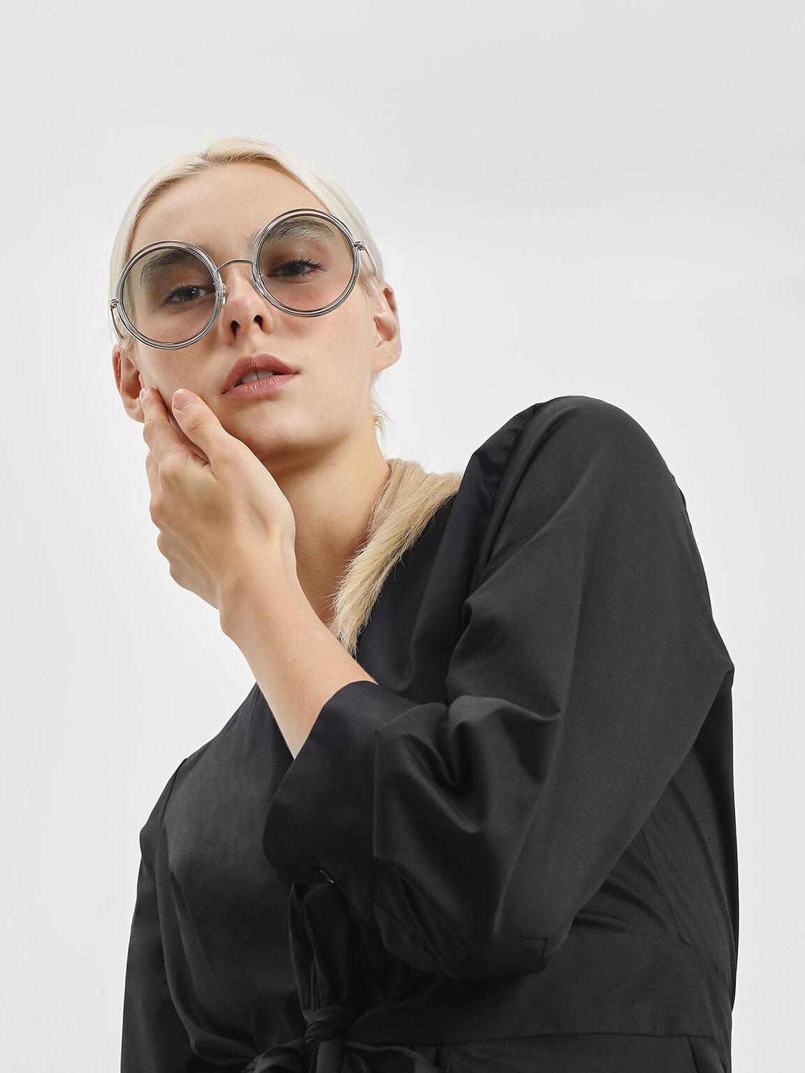 Cutout Frame Round Sunglasses, Silver, hi-res