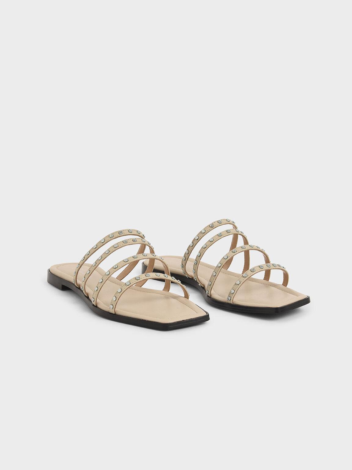 Studded Leather Flat Sandals, Beige, hi-res