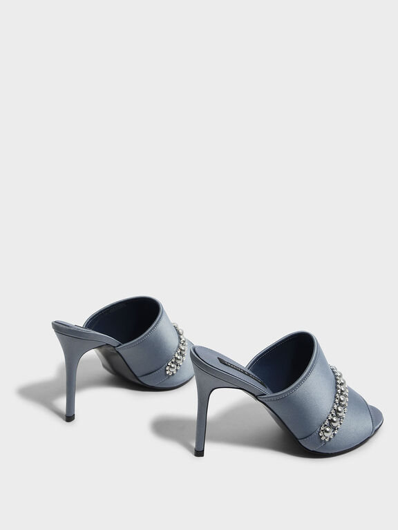 Embellished Satin Mules, Grey