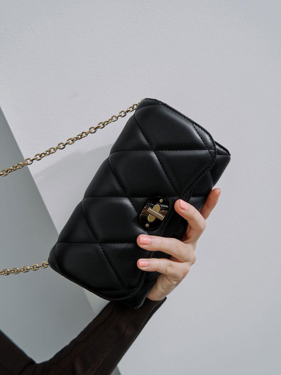 Quilted Turn-Lock Wallet, Black, hi-res